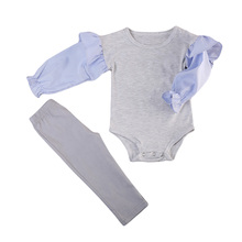 Pudcoco Infant Kids Baby Girls Long Sleeve Striped Patch Work Gray Tops Leggings Demin Pants Outfits Clothes Fashion Cotton 0-3Y(China)