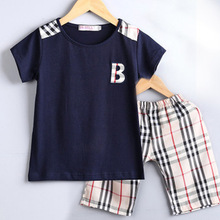2-7T Boys sports suit casual T-shirt + plaid short pants children's suits sets kids clothes set fashoin boys clothing set