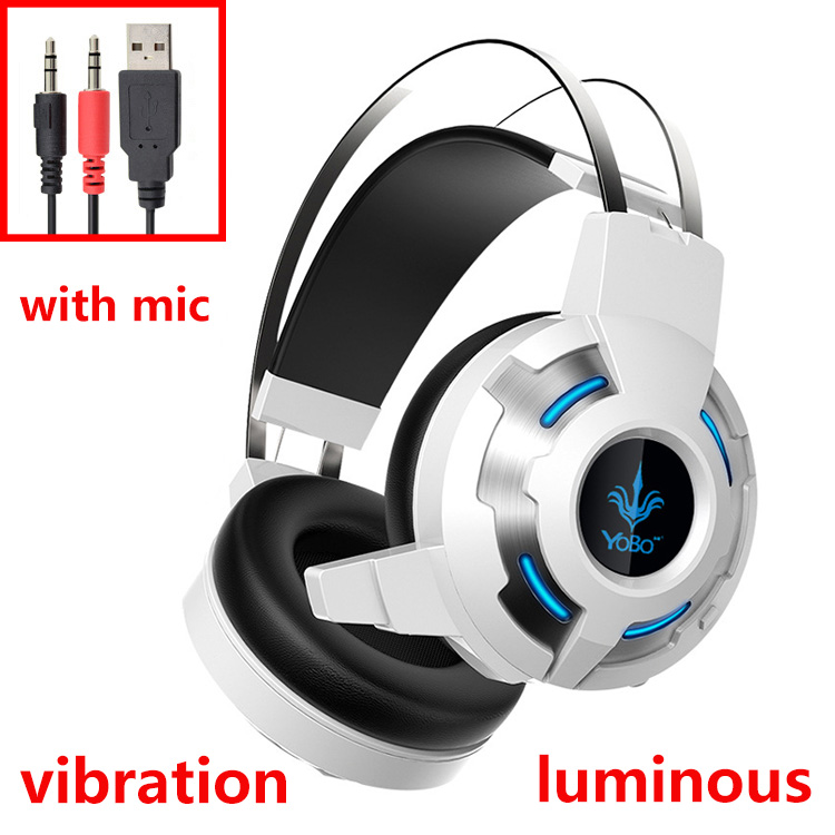 YoBo Y030 USB Vibrating Headphones With Mic And LED Light Super Bass Gaming Headphone For Internet Bar PC Headset<br><br>Aliexpress