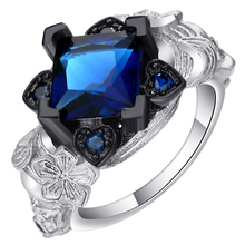 Vintage Royal Blue Heart Flower And Evil Skull Ring Jewelry Silver Color Unusual Wedding Bands Party Cocktail Finger Ring Women