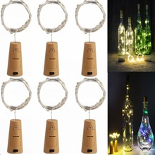 6PCS/Lot 2m 20LED Battery Powered Wine Bottle Lights 200CM Cork Shaped String Lights Christmas holiday decoration lamp Wholesale(China)
