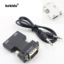 kebidu New arrival HDMI Female to VGA Male Converter with Audio Adapter Support 1080P Signal Output white Black Wholesale(China)