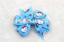 Little Girls Hairpins Boutique Baby bows Sky Blue Kitty Cat Magic BOW Hair clips Children hair Accessories 24Pcs/lot(China)