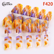 TKGOES 100pcs fashion false nails art salon designed with Yellow sunflower pattern suit half nail tips for party designed F420