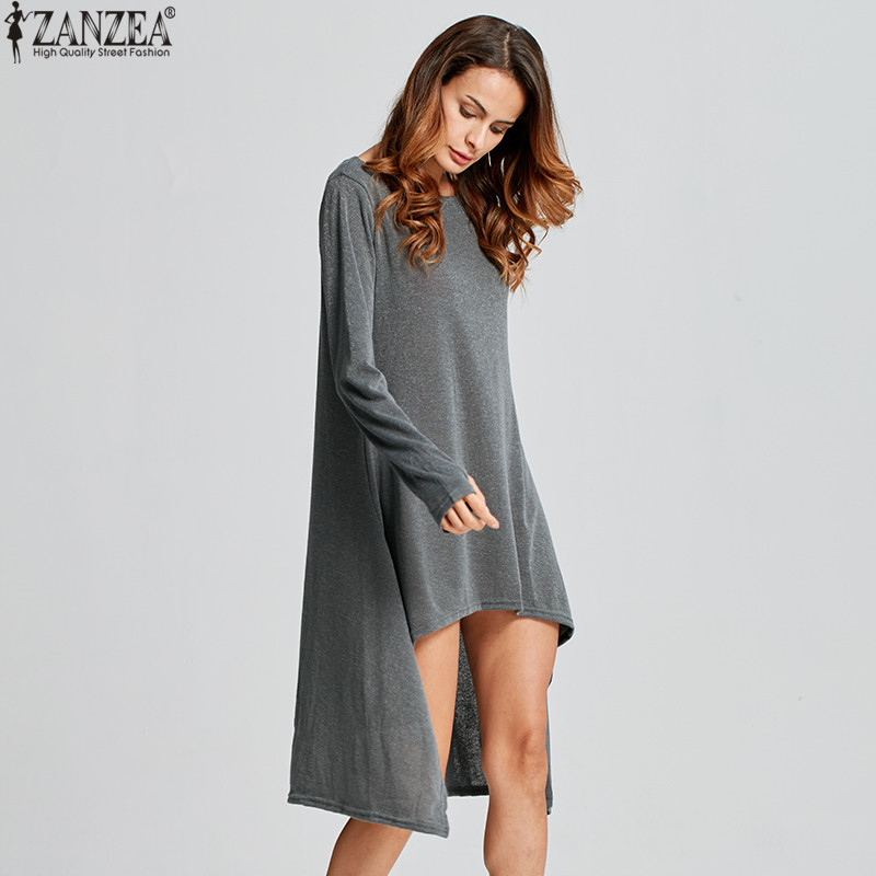 ZANZEA Winter Sweater Dress Vestidos 18 Women Ladies Knitted Casual Long Sleeve Asymmetric Hem Mid-calf Dresses Plus Size 3XL 12