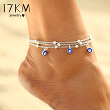 17KM 2 Style Turkish Evil Eyes Beads Anklets For Women Sandals Pulseras Tobilleras Mujer Pendant Anklet Bracelet Foot Jewelry