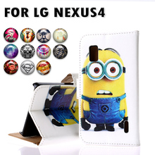 Luxury PU Leather Painted Cases For LG Google Nexus 4 E960 4.7 inch Nexus4 Cases Shell Cover with Card Holder Phone Holster