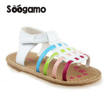 2017 New Little kids sandals colorful Baby girls summer Slippers footwear children sandals shoes flat with Mujer flats(China)