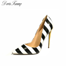 DorisFanny Genuine Patent Leather white black yellow sexy high heels celebrity style women shoes large size(China)