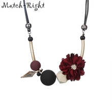 Match-Right Women Necklace Statement Flower Necklaces & Pendants Wood Beads Necklace For Women Jewelry YJZ-125(China)