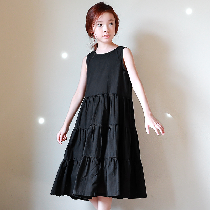 teenage little girl clothes dresses sleeveless black maxi long sundress beach girls dress summer spring 2018 children dresses<br>