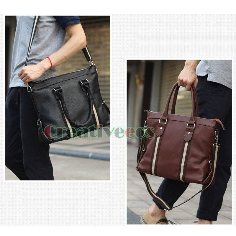 Korean Men Fashion PU Leather Briefcase Business Laptop Cross Body Messenger Shoulder Handbag Tote Casual Bag Handbags<br>