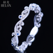 HELON Genuine Sapphires Eternity Styly Exquisite Ring Women's Jewelry Ring Setting Real 10k White Gold Engagement Wedding Band