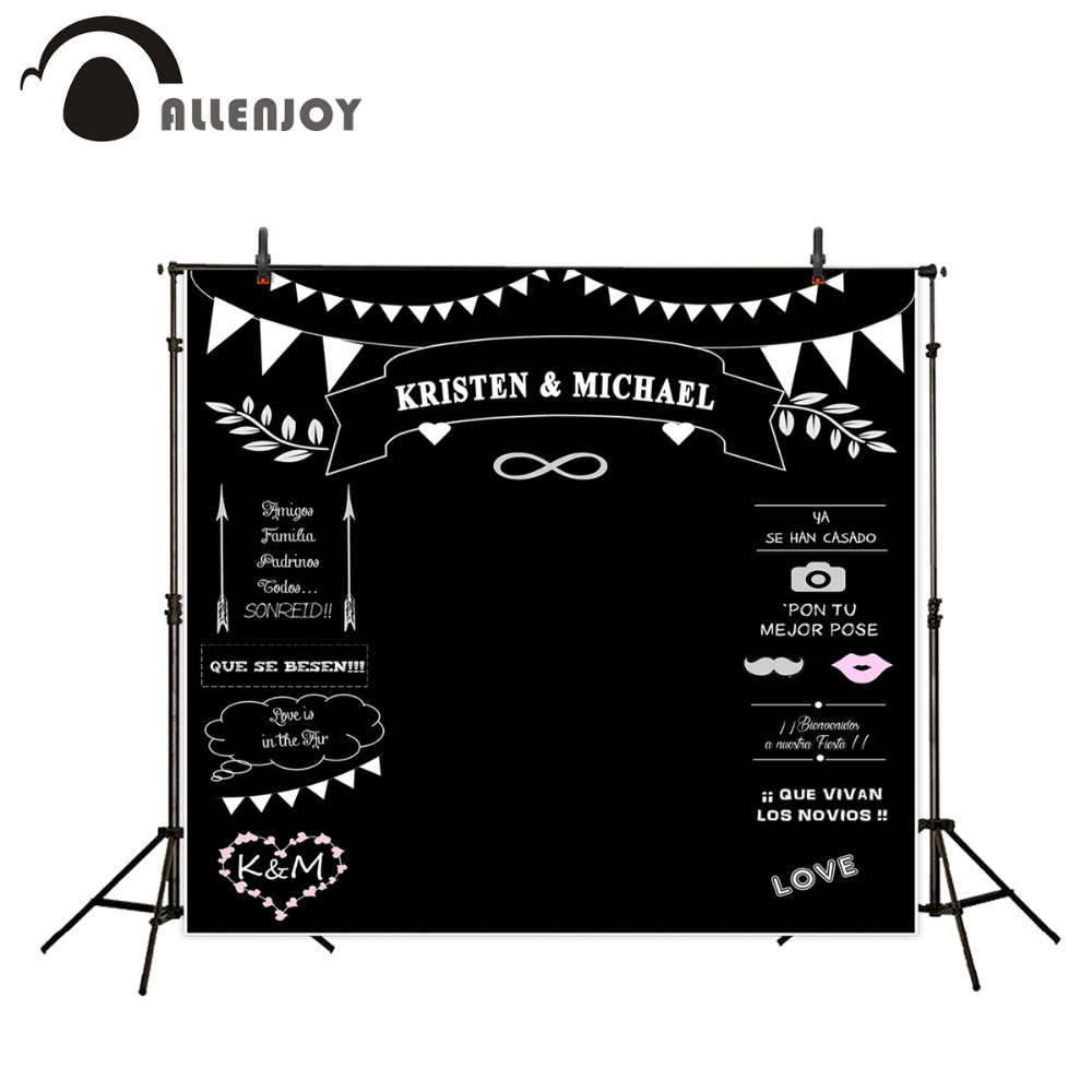 Allenjoy Wedding Backdrops Styles Blackboard for Photo Studio Wedding chalk Background Photography customized size Name Date<br><br>Aliexpress