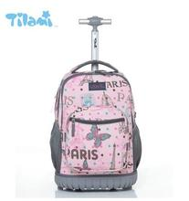 Kids Rolling Luggage Backpacks Kid School Backpacks with wheels kid suitcase children luggage Wheeled backpacks bag for school(China)