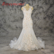 2018 new design Vestido de Noiva mermaid lace wedding dress light champagne lace wedding gown wholesale price bridal dress(China)