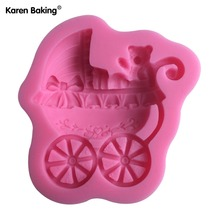 1PCS Stroller Shaped Chocolate Candy Jello 3D Mold Mould Cartoon Figure/Cake Tools C046(China)