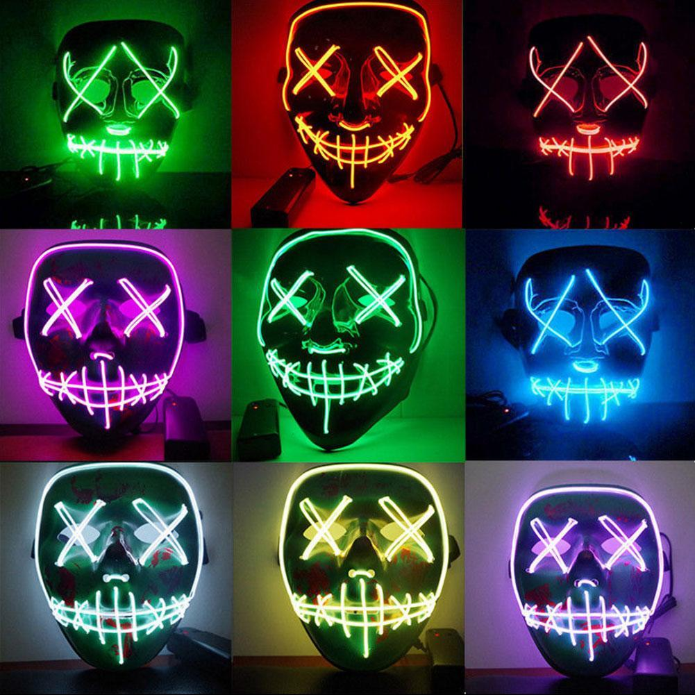 Kids Costumes & Accessories Boys Costume Accessories Dropshipping 2018 El Wire Mask Light Up Neon Skull Led Mask For Halloween Party Theme Cosplay Masks Us W13