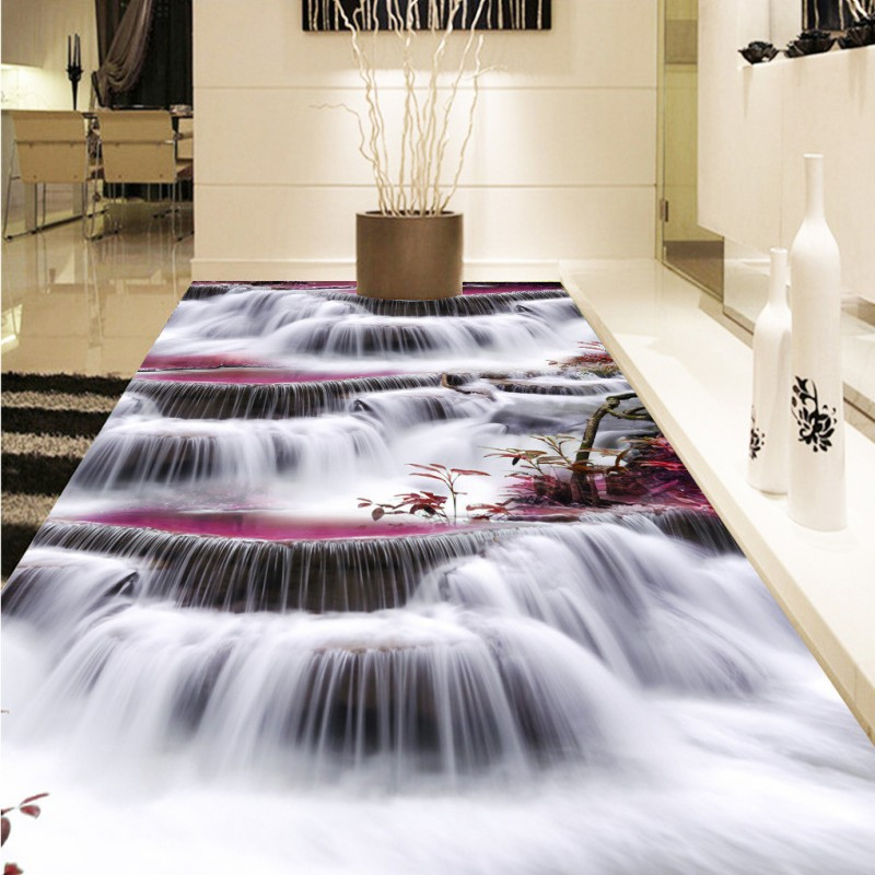 Free Shipping beautiful Waterfalls 3D flooring sticker wallpaper kitchen home office bedroom non-slip floor mural<br>