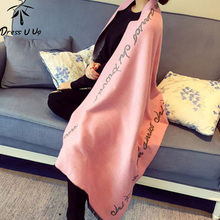 Luxury Brand Scarf Women Wool Cashmere Duble Layer Scarf Soft Women's Scarf Letter Warm Blanket Scarf Shawl Echarpes(China)