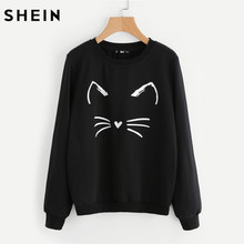 SHEIN Cartoon Cat Print Sweatshirt Long Sleeve Casual Women Pullovers Black Round Neck Cute Sweatshirt for Women(China)