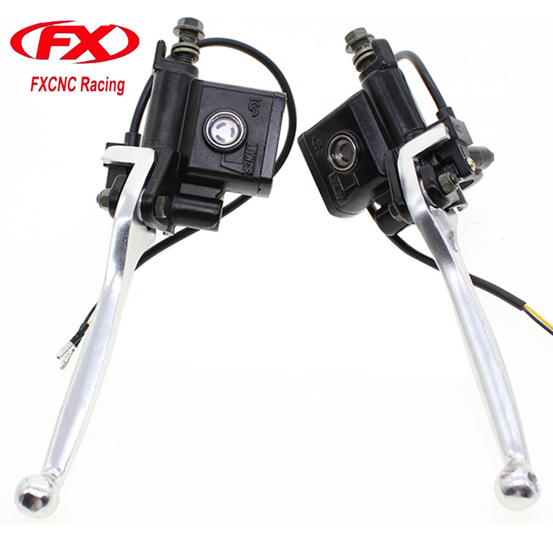 FX 22mm Universal Hydraulic Motorcycle Brake Clutch Levers wih Master Cylinder Sets Fit for 125-500CC Motorcycles Brakes<br>