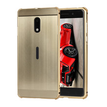 For Microsoft Nokia 6 Case Mirror Hybrid 2 in 1 Armor Brushed Plating Aluminum Metal Bumper PC Cover Phone Capa For Nokia 6 Case(China)