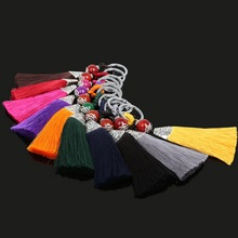 28x130mm Imitation Silk Tassels Women Keychain Bag Pendant Charms Alloy Car Key Chain Ring Holder Retro Jewelry DIY Accessories(China)