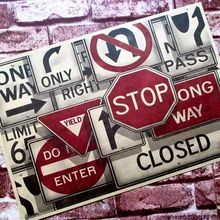 Direction of traffic signs stop closed do not enter decorative Posters Core Kraft bar Core Home Decor classic gift wall sticker(China)