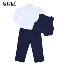 Fashion Baby Boys Gentleman Outfits White Long Sleeve Shirt and Pants with Vest Sets Children Sets for Pageant Party Daily Wear
