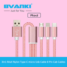 [Bvanki Type-C] china products Type-C To Standard USB 3.0 Charging Data Cable,Full New 3 In 1 Cable Micro USB Type C Charger