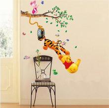 Pooh Tigger Animal Cartoon Vinyl Wall stickers kids rooms Home decor DIY Child Wallpaper Art Decals 3D Design House Decoration(China)