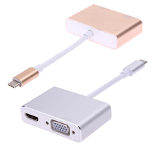 2 in1 USB 3.1 Type C to HDMI+VGA Female Adapter 4K2K HDMI 1080p VGA Converter for Macbook Laptop Google New Chromebook(China)
