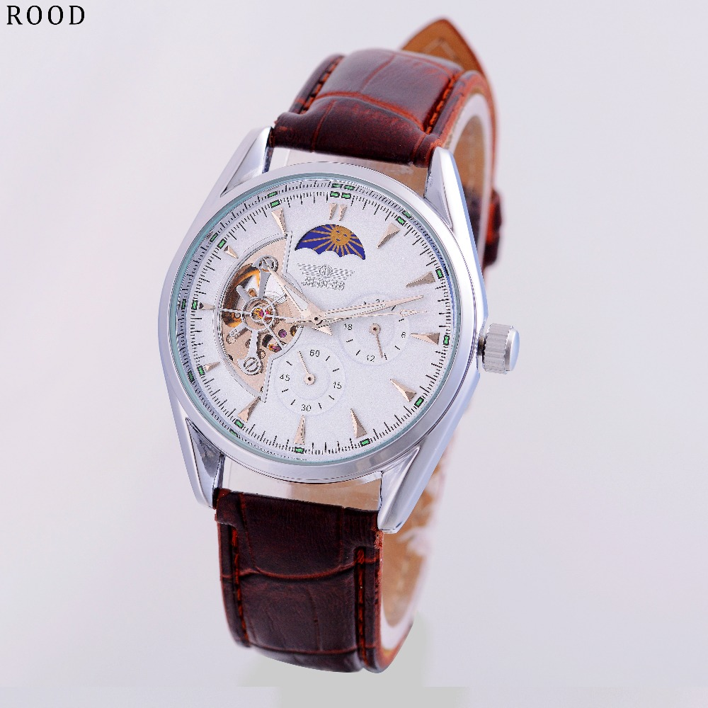 2017 Tourbillon Luxury BRAND Moon Phase Fashion Automatic Self-wind Mechanical watches Genuine Leather Strap Men Casual watches<br><br>Aliexpress