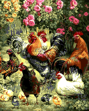 Animal cock Mediterranean oil Painting Drawing art Spray Unframed Canvas Frameless wall miniature picture kitchen wine