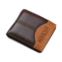 Genuine Leathe Men's Wallets Zipper Pocket Coin Purse Card Holders Student wallet fashion Coffee wallet for men boy gift(China)