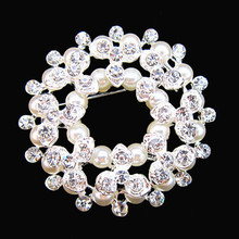 Silver Tone Double-Storey Crystal Rhinestone Nice Faux Pearl Brooches Wedding Bouquet
