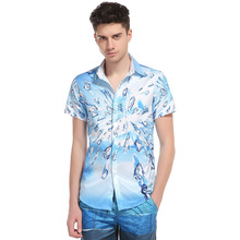 In The Summer Of 2017 The New 3 D Ice Printing Design Hawaii Wind Man Show Thin Brand Shirts With Short Sleeves Package Mail(China)