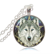 Wicca Wolf  Photo Necklace Pentagram Wiccan Pendant Animal Jewelry Pentacle Necklace Glass Cabochon Jewellery Accessories HZ1