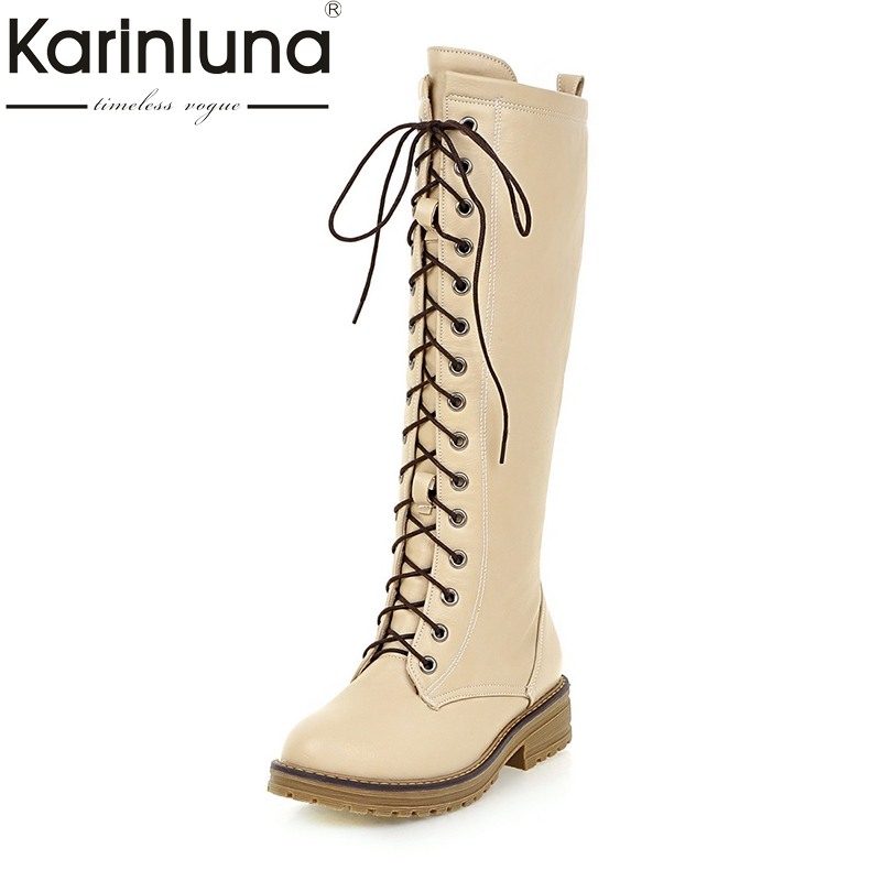 KARINLUNA 2017 Large Size 34-43 Platform Black Women Shoes Woman Lace Up Square Heels Knee High Boots Casual Party Bottine<br>