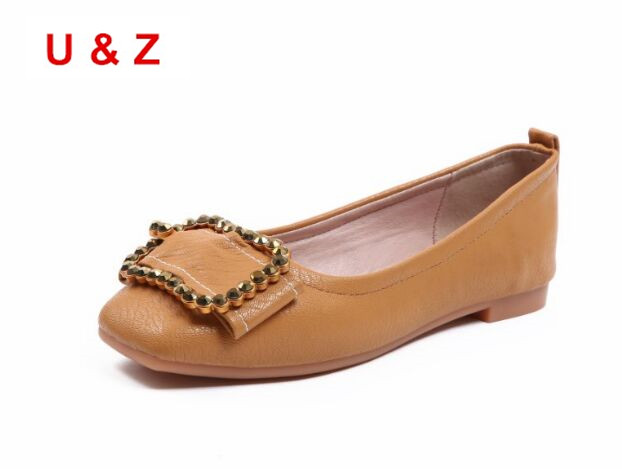 Hot sale Black/White/Yellow matte leather Square toe women flats,Brand U&Z Women Crystals square buckle loafers Shoes Real photo