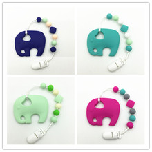 Silicone Elephant Teething Toy with the pacifier clip Food Grade Silicone beads- SAFE to chew on- BPA Free for teething baby(China)
