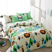 Fresh cartoon forest animals linens 4pcs bedding sets high end cotton twin/single/double/queen size duvet cover set sheets sets(China)
