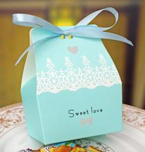 Free Shipping 50pcs/LOT blue Sweet love Wedding Favor Boxes Wedding Candy Box Casamento wedding souvenirs favors(China)