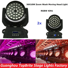 2XLot Free Shipping 36x10W 4IN1 Zoom Led Moving Head Light RGBW 4IN1 DMX512 Led Moving Head Wash Beam Effect Light New Arrival