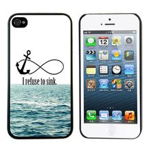 Cases Covers Free shippng ! 1PCS Cheap Newest Arrival Protective I Refuse To Sink Waves Hard Back For iPhone 5 5G 5S