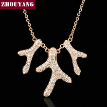 ZHOUYANG Top Quality ZYN261 Coral Reef Crystal Rose Gold Color Pendant Necklace Jewelry Austrian Crystal Wholesale