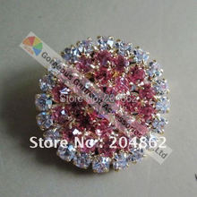20pcs/lot Rose Pink stones crystal rhinestone button Round Ring with Gold metal For Furniture Costume Browband Making BT003R