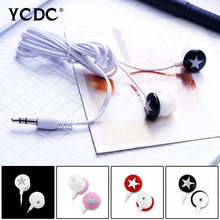 Top Quality Star Red Pink White Black 3.5mm In-ear Stereo Earphone For MP3 MP4 iPhone For Huawei For Xiaomi Smart Cellphone