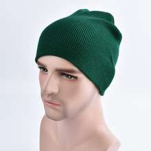 Fashion Men Women Plain Beanie Cheap Knitted Hat Autumn Winter Warm Cap Solid Color Unisex Hip-pop Slouchy Skull Turban Hat(China)